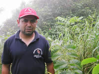 Rene Rivas with tree seedling