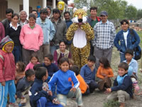 The jaguar mascot visits Puerto Dianna