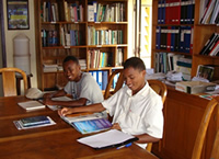 Students in Madagascar library