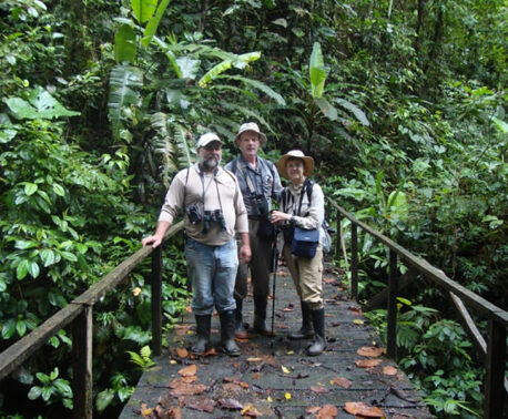 Keeper of the Wild Galo with tourists at the reserve
