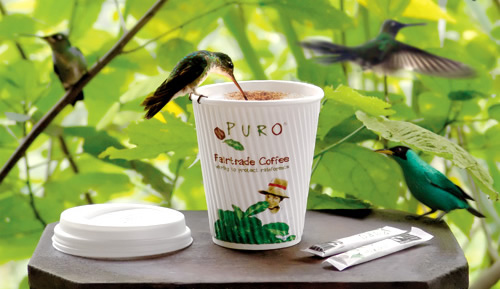 Humming birds on a Puro coffee cup