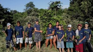 Tree planting by Young Rangers in rainforest