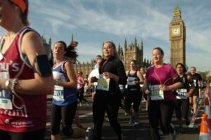 Photograph of runners in the London Parks Half Marathon, October 2012