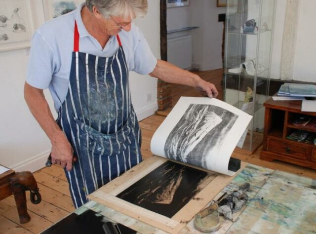 Photograph of Bruce Pearson at work in WLT gallery. © WLT / Dan Bradbury.