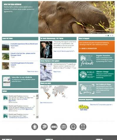 Screen shot of the new home page of World Land Trust website
