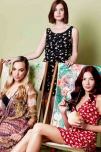 Picture of deckchairs with models Phoebe Collings James and Clara Paget, and actress Bonnie Wright