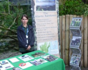 Photo of Daisy East at the WLT stand, Chessington Conservation Evening. © Daisy East / WLT.