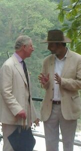 Prince Charles with Vivek Menon in the Vazhachal Forest Range.