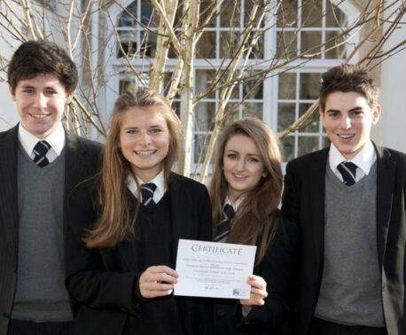 Four pupils from Sevenoaks School with their WLT certificate.