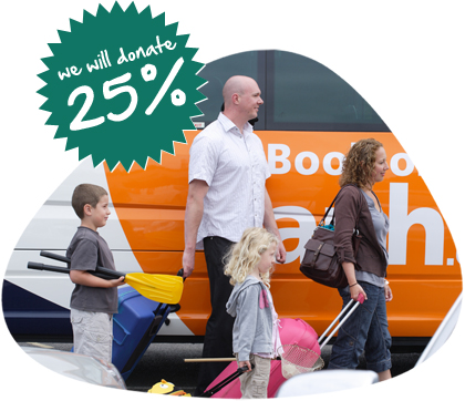 A family leaves their car at an APH carpark before going on holiday, with the words 'We will donate 25%' superimposed over the image.