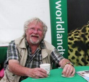 Bill Oddie at WLT's stand at Birdfair.