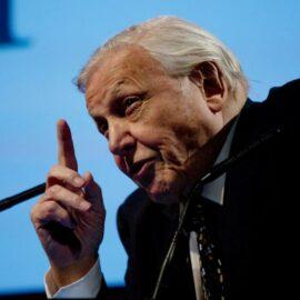 Sir David Attenborough making his opening address on stage at BAFTA.