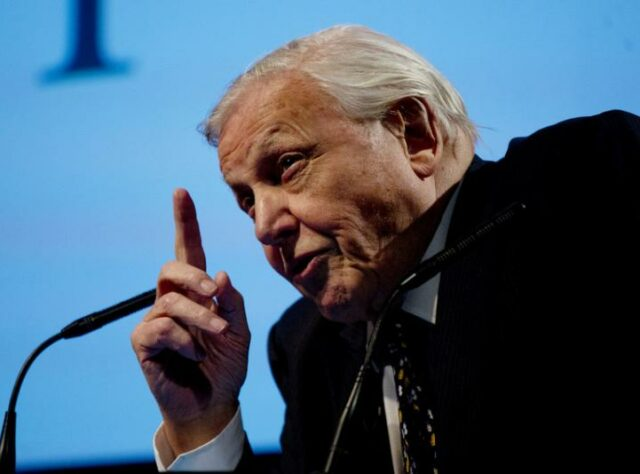Sir David Attenborough making his opening address on stage at BAFTA.