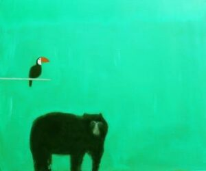 A Spectacled Bear and a bird silhouetted against a green background (artwork).