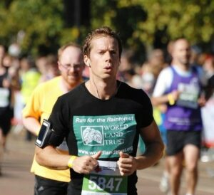Andy Orchard runs the Royal Parks Half Marathon in 2012