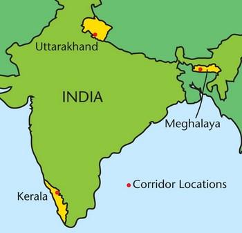 Corridor locations in India