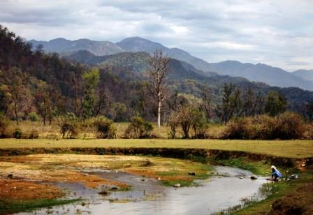 The Kosi River with mountains behind.