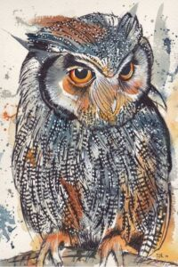 Painting of a Scops Owl.