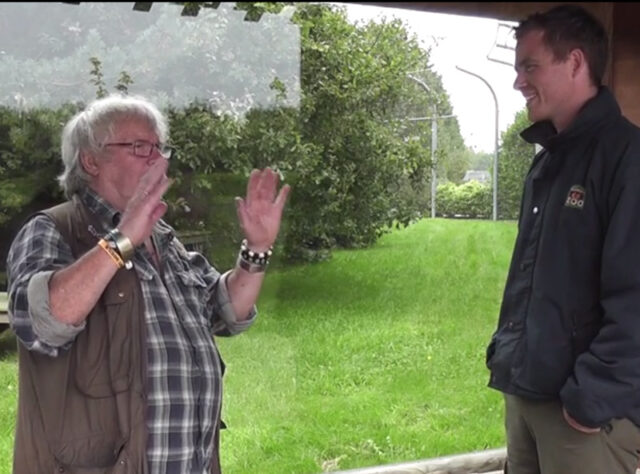 Bill Oddie discussing big cats at Banham Zoo
