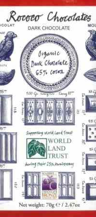Rococo Chocolates Organic Dark Chocolate 65% Cocoa Bar