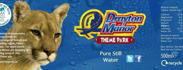 Drayton Manor Park's branded water bottle wrapper.