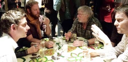 Fundraisers chat to Bill Oddie at WLT's winter gathering.