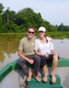 Dominick and Jude on the Kinabatangan river.