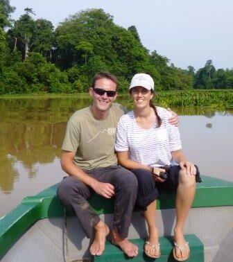 Dominick and Jude on the Kinabatangan river.