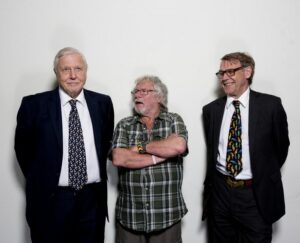Sir David Attenborough, Bill Oddie and John Burton.