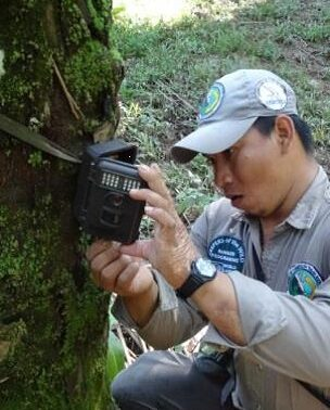 Rene with trail camera.