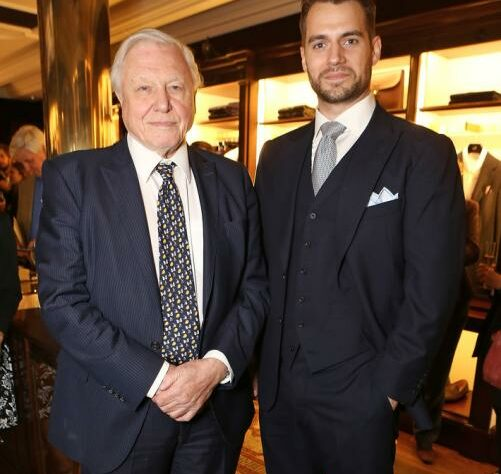 Sir David Attenborough at Henry Cavill at the event.