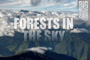 Forests in the Sky logo superimposed over a panoramic view of cloud forest in Ecuador.