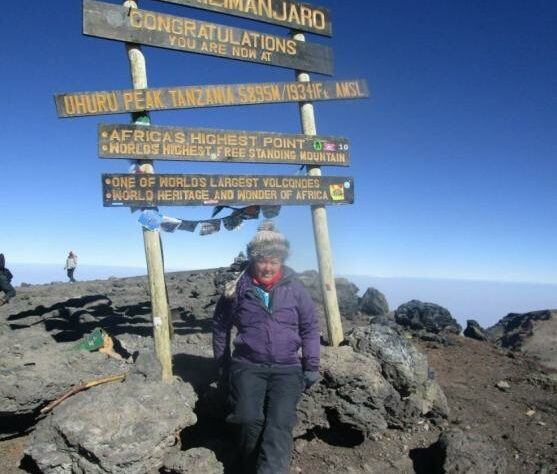 Jenna-Louise Baird, at the summit of Kilimanjaro.