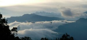 Clouds over mountains in El Dorado Reserve.