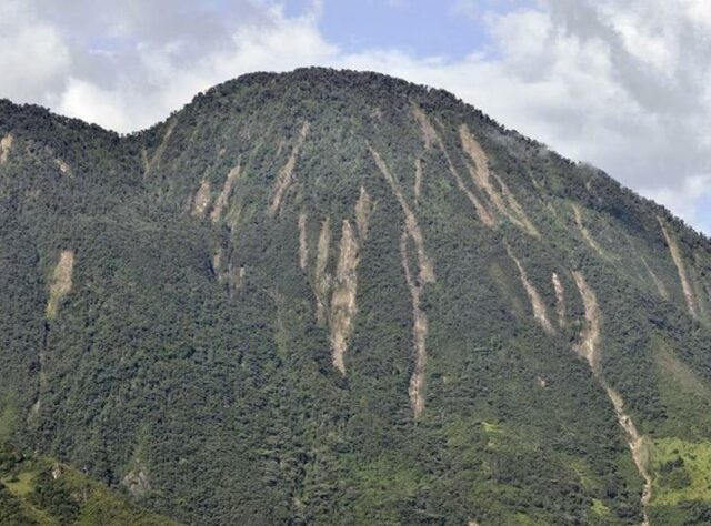 Landslides on the mountainside.