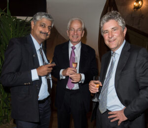 Vivek Menon, David Gower and WLT Chair of Trustees Simon Lyster