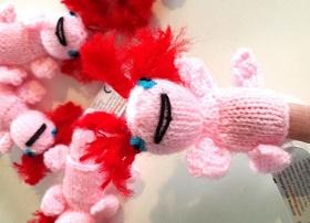 Axolotl finger puppets