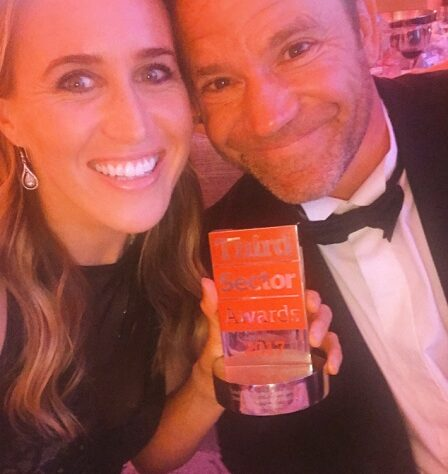 Steve and Helen Backshall with their award