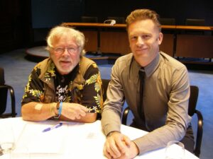 Chris Packham with Bill Oddie at WLT's 2014 Controversial Conservation Debate