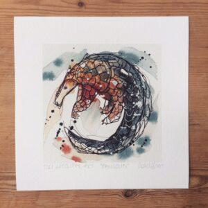 Pangolin print by Tori Ratcliffe