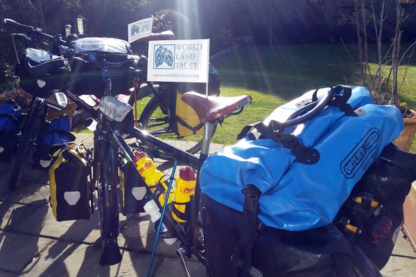 Two heavily laden bikes ready for the long distance journey