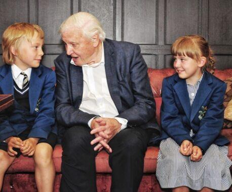Young schoolchildren meet their inspiring hero Sir David Attenborough