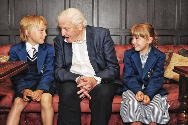 Young schoolchildren meet their inspiring hero Sir David Attenborough