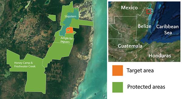 Map of North Eastern Biological Corridor for jaguars in Belize