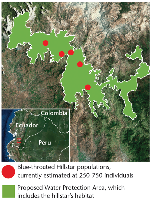 Map showing the location of the hillstar's range and the proposed protected area.