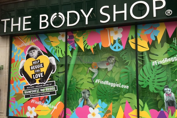 The Body Shop bio-bridges window display.