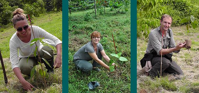 Emma Beckett, WLT Ambassador (left); Dr Isabelle Lackman, co-founder of WLT Bornean partner (Hutan) (middle); Rarely photographed himself, WLT Ambassador and acclaimed photographer, David Bebber (right). Images: Mary Tibbett/WLT, Hutan