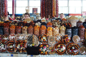 The Caucasus region is one of the most beautiful, and botanically as well as ethnobotanically important regions on Earth. It is synonymous with wild edible plant origins and most of our orchard fruit trees such as almonds, walnuts, pomegranate, plum, apples and pears, can be found growing in the wild. The shops in Armenia have a magnificent range of dried fruits and nuts on sale.