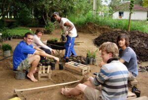 Mauricio and volunteers in the tree nursery at REGUA, Brazil.