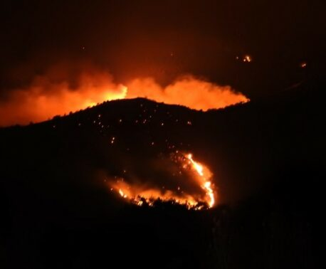 Fires in Armenia glowing in the night sky